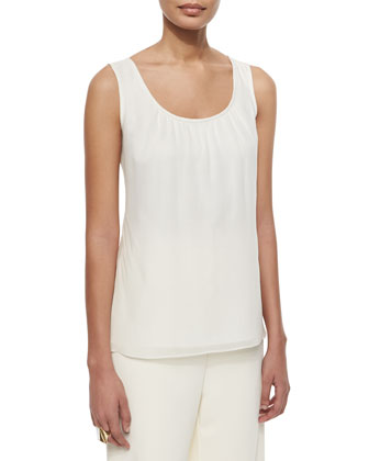 Gathered Scoop-Neck Tank Top