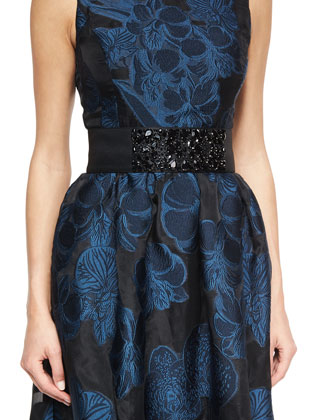 Floral Fil Coupe Sleeveless Gown & Duchesse Hand-Beaded Belt