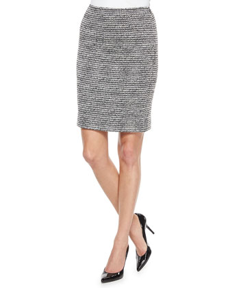 Abstract Houndstooth Tweed Top, Fox Fur Collar & Novelty Tweed Pencil Skirt ...