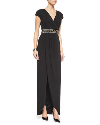 Luxe Crepe Cap-Sleeve Draped Gown