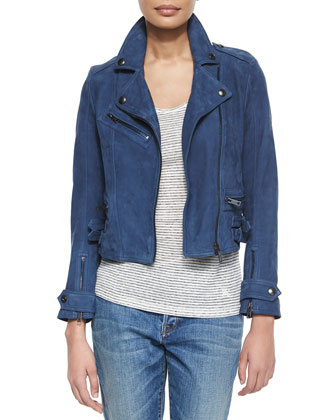 Nubuck Lamb Leather Biker Jacket, Canvas Blue