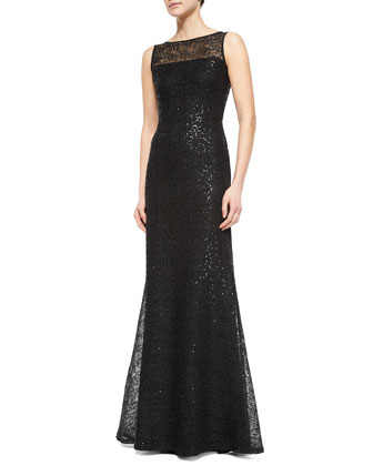 Allover Paillette Gossamer Gown