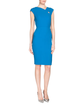 Barkis Wool Crepe Sheath Dress, Azure