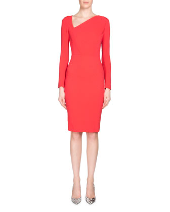 Bitzer Stretch Double-Crepe Long-Sleeve Sheath Dress, Redberry