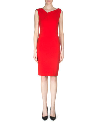 Grainger Crepe Sheath Dress, Berry Red