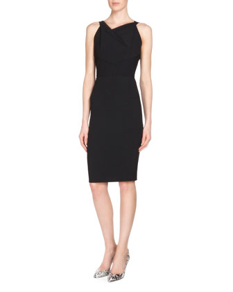 Gabelle Open-Back Crepe Sheath Dress, Black