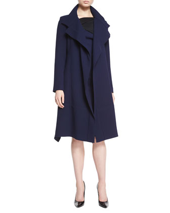 Riderhood Double-Faced A-Line Coat & Lemalia Fold-Detailed Sheath Dress