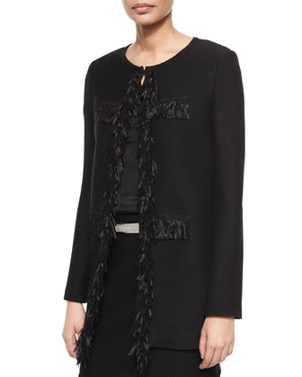 Ribbon Fringe Pique Topper Coat, Short-Sleeve Crepe de Chine Top, Texture ...