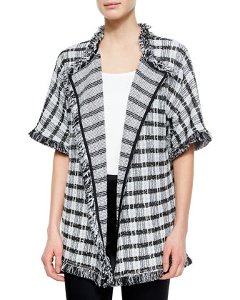 Damier Paillette Tweed Knit Cardigan