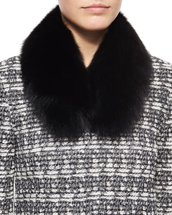 Subtle Tweed Eyelash Jacket, Fox Fur Collar & Luxe Sculpture Knit Ankle ...