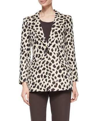 Animal Jacquard One-Button Jacket