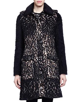 Leopard-Print Shaggy-Weave Coat, Contrast-Knit Fringe-Trimmed Top & ...