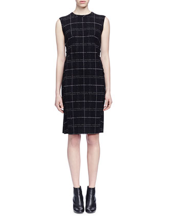 Wool-Blend Plaid Sheath Dress