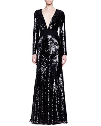 Deep V-Neck Allover Sequin Gown