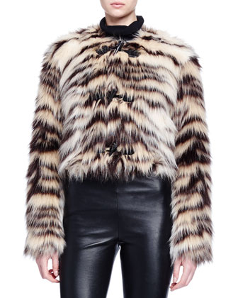 Zebra-Striped Faux-Fur Toggle Jacket
