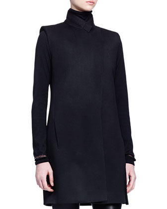 Sleeveless Wool Long Jacket, Cashmere-Silk Turtleneck Sweater & Skinny-Fit ...