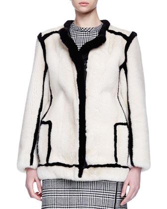 Contrast-Outlined Mink Fur Jacket