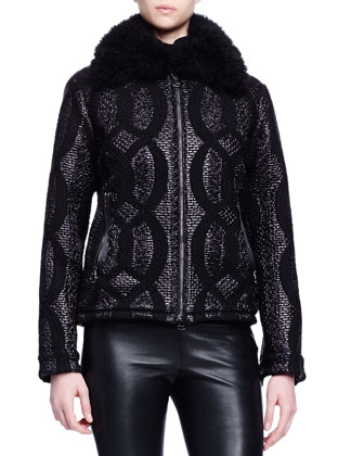 Shearling-Trimmed Cable-Jacquard Jacket, Cashmere-Silk Turtleneck Sweater & ...
