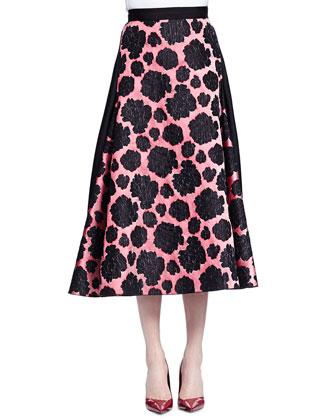 Short-Sleeve Jeweled-Neck Top & Mixed Floral-Print Midi Skirt