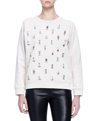 Crystal-Embroidered Jersey Sweatshirt