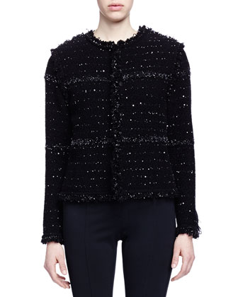 Boucle-Knit Paneled Jacket