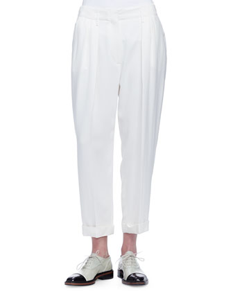 Long Snap-Front Jacket, Cap-Sleeve Draped-Back Top & Loose-Fit Pleated Trousers