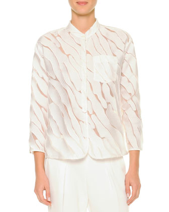 Semisheer Fil Coupe Blouse