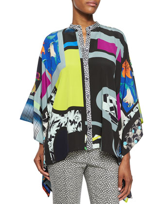 Cubic Pattern Button-Front Poncho