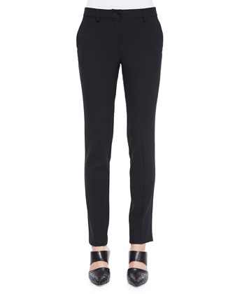 Stretch-Wool Skinny-Fit Pants, Black