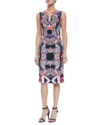 Paisley-Print Split-Neck Sheath Dress