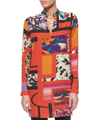 Long-Sleeve Split-Neck Tunic Top, Pink Multi