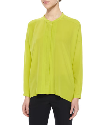 Crystal-Pleated Drop-Shoulder Blouse