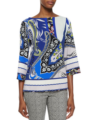 Paisley-Print Wide-Sleeve Top