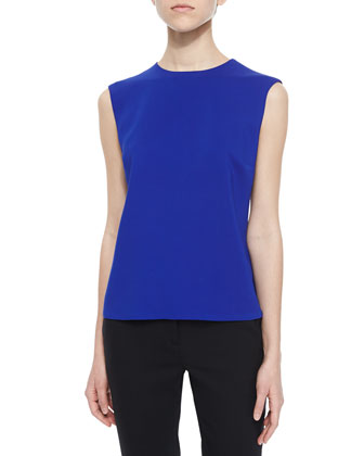 Sleeveless Solid Cady Top, Cobalt