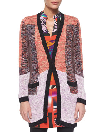 Colorblock Knit Long-Sleeve Cardigan, Pink Multi