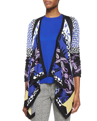 Geometric Intarsia Knit Cardigan, Sleeveless Solid Cady Top & Pebble-Print ...