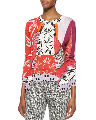 Mixed-Print Cashmere-Blend Cardigan