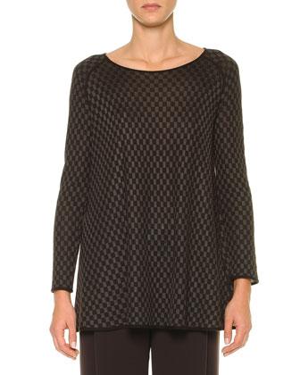 Cashmere-Blend Mini-Checked Tunic
