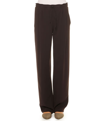 Drawstring Wide-Leg Pleated Pants
