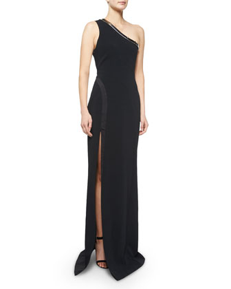 One-Shoulder Metal-Detailed Gown