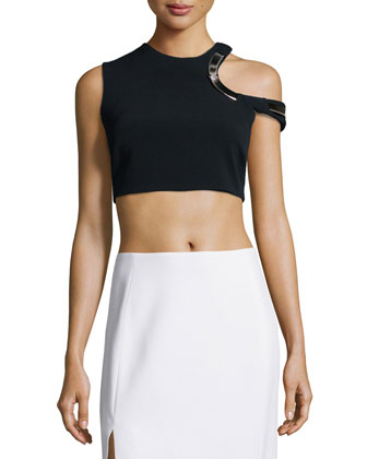 Hardware-Trimmed Keyhole Crop Top