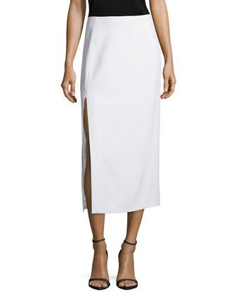 High-Slit Cady Midi Skirt