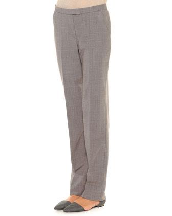 Leopard-Print Jacquard Blazer, Diagonal Rib-Knit Top & Seamed Tab-Front ...