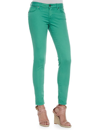 Low-Rise Skinny Jeans, Green