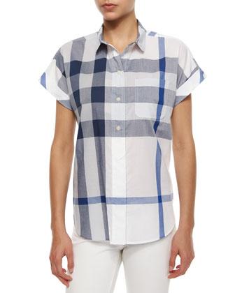Short-Sleeve Half-Button Check Shirt, Blue/White