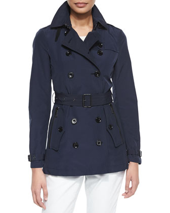 Belted Trench Coat with Leather Latch, Navy
