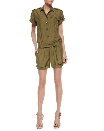 Belted Safari-Style Jumpsuit, Olive