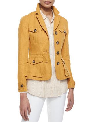 Single-Breasted Linen Safari Jacket