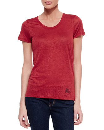 Basic Round-Neck Linen T-Shirt