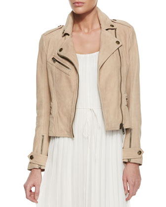 Nubuck Leather Biker Jacket, Tank